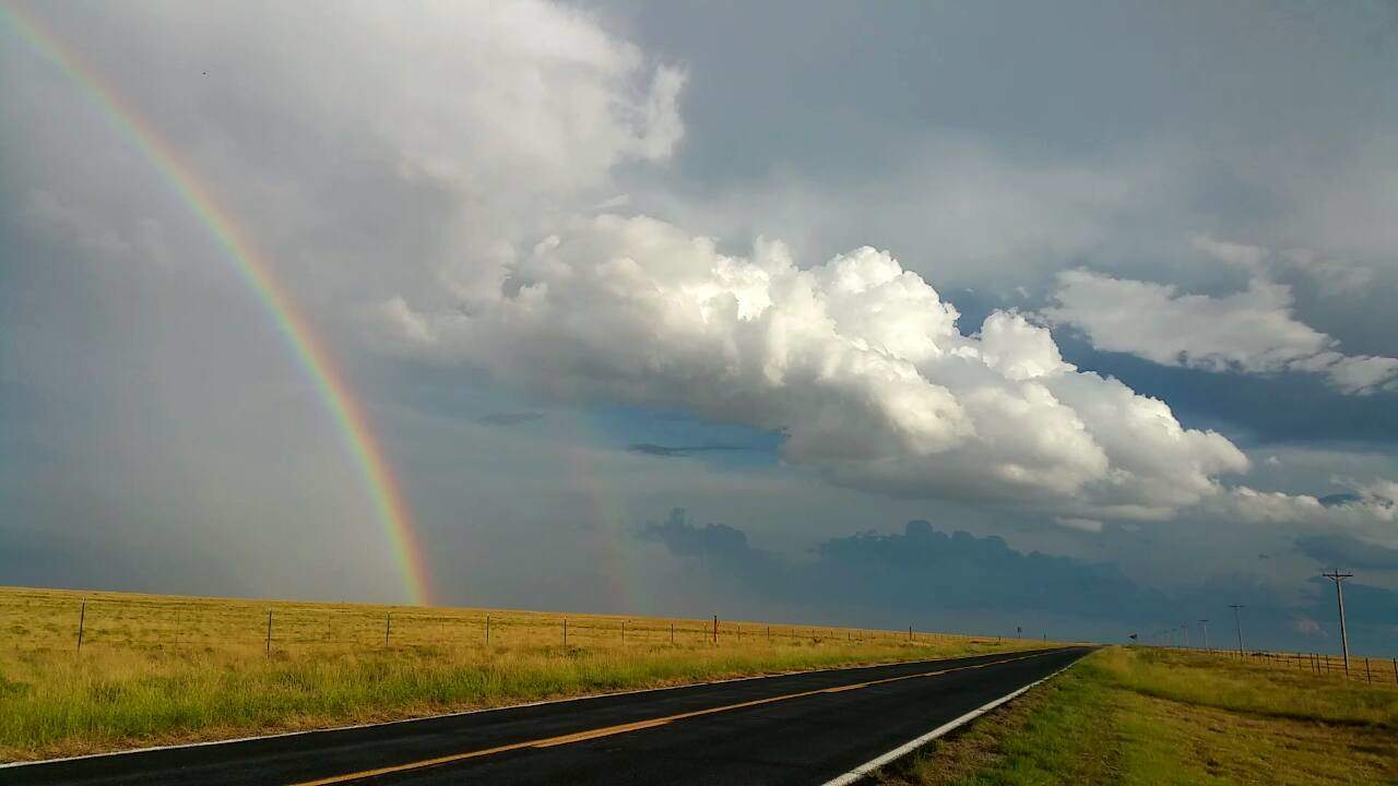 Pretty uneventful chase in NE New Mexico. However, we did witness a pretty fantastic rainbow that shined bright for quite some time.