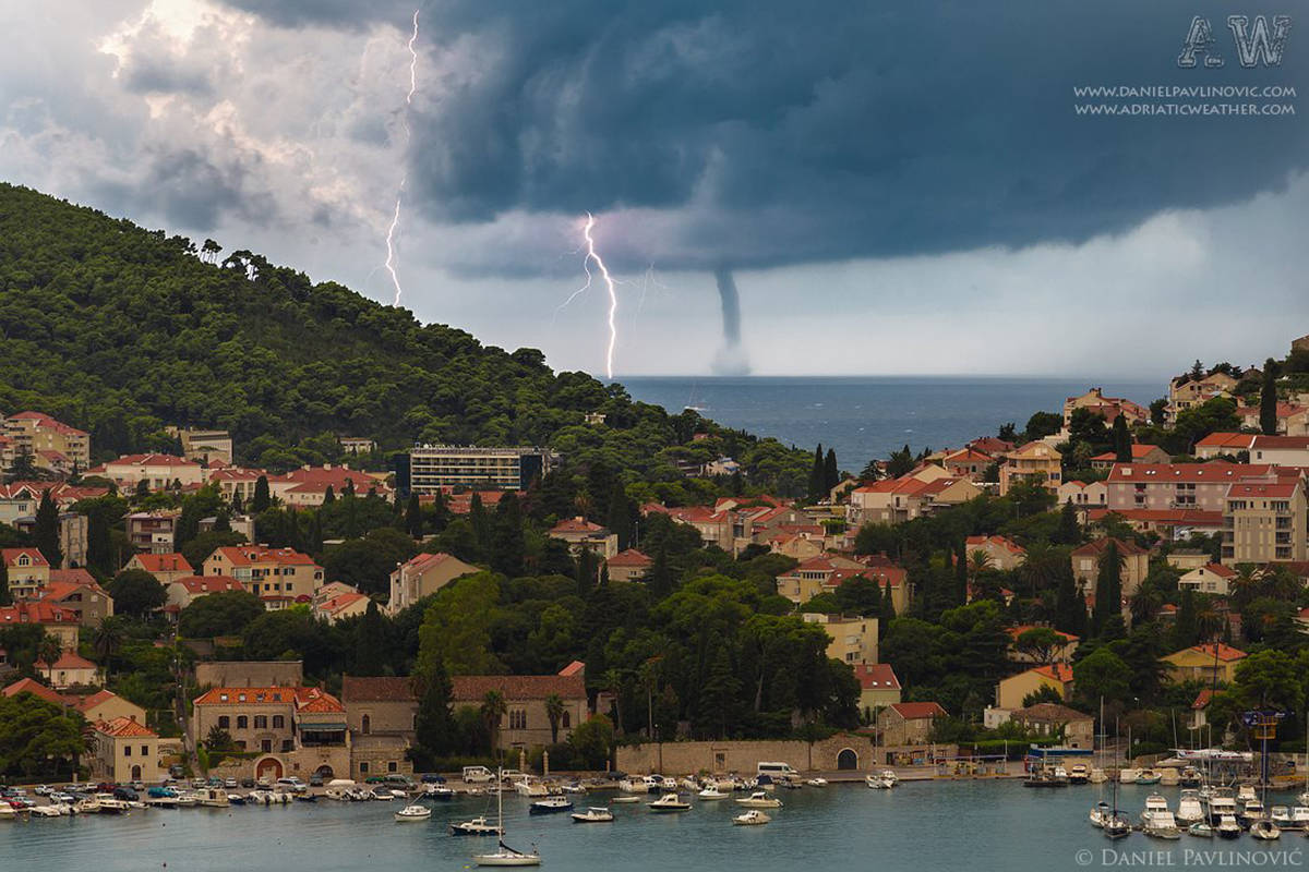 I was lucky enough to capture waterspout and lightning in a single shot during daytime. After this Dubrovnik engulfed heavy thunderstorm with 191mm of rain (7,5 inches). Dubrovnik, Croatia, 1 Sept 2014.