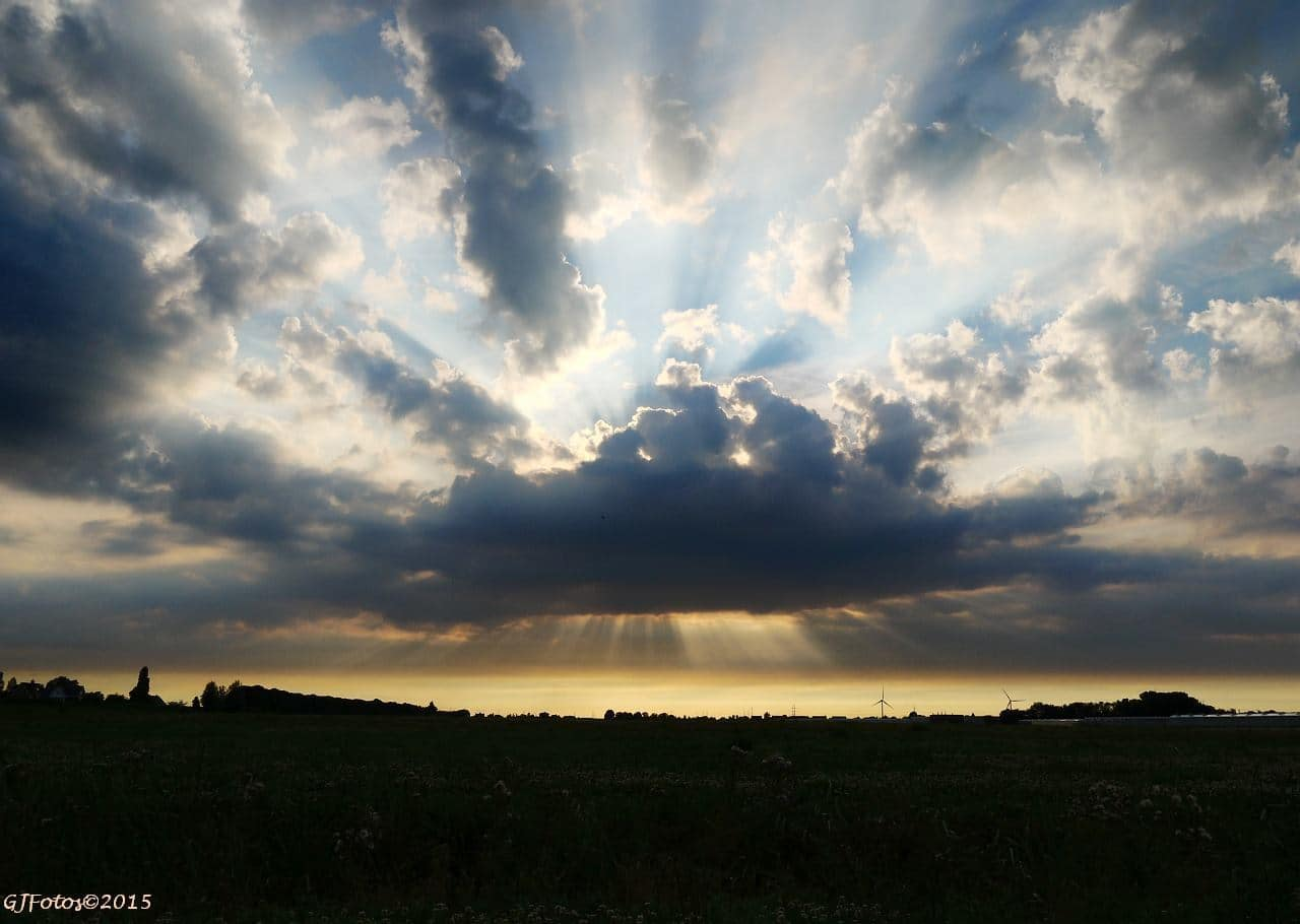 23rd of July 2015 Rays of light at sunset, this evening in the Netherlands...