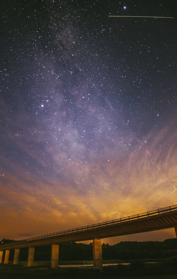 Milky Way and International Space Station over Legindvejle bridge, Denmark. July, 27th at 1:30 local time.