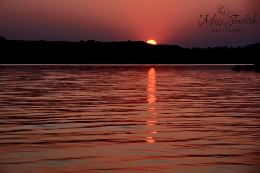 A hazy sunset over Lake Sakakawea