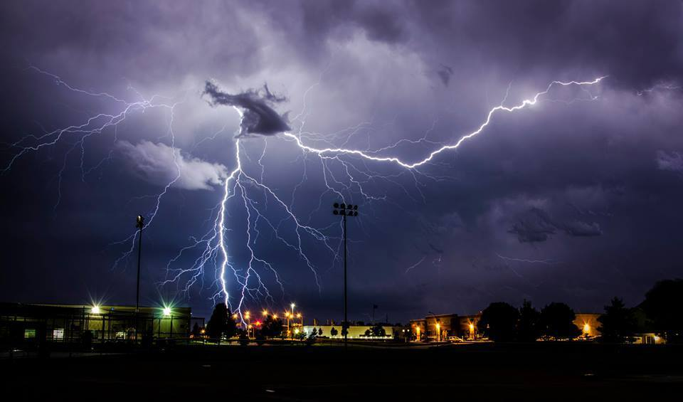 """""""Finger of God"""" was captured at a local softball complex in Urbandale Iowa. This was REAL close I'm guessing maybe a mile away. This is the low res version. I was ecstatic when I saw that I had captured this!"""