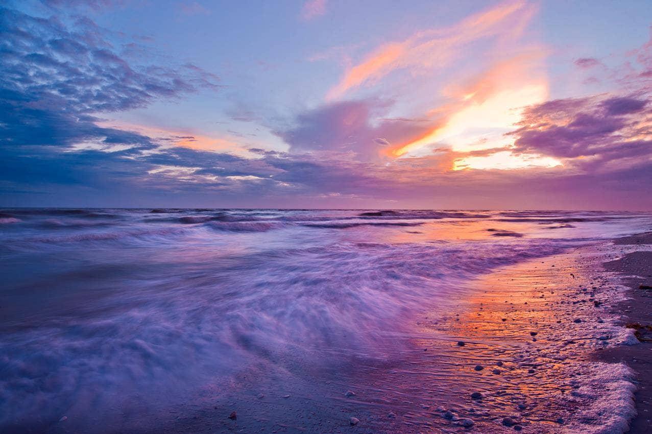 A colorful sunset on Sanibel Island, FL.
