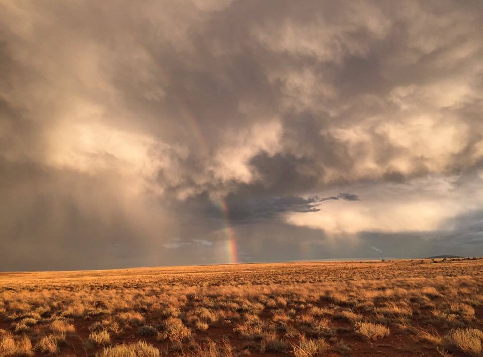 Stunning rainbow and dying storms in Winslow , Arizona the picture doesn't even do it justice