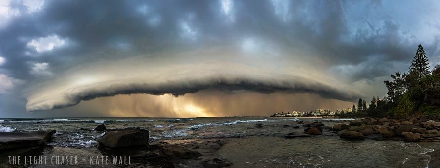Kings Beach, Sunshine Coast QLD, Aust. a winter storm this afternoon, a panoramic image of the storm!!
