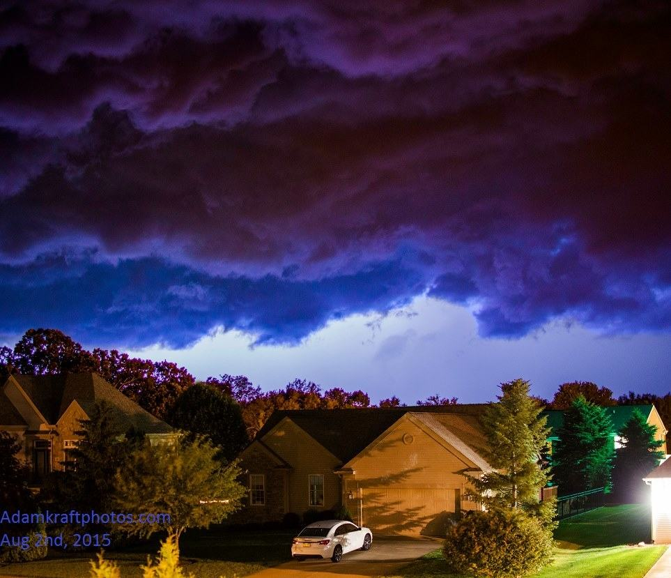 Turbulent skies from a strong outflow at night illuminated by lightning and city lights back on August 2nd. Pic taken in Spring Arbor MI.