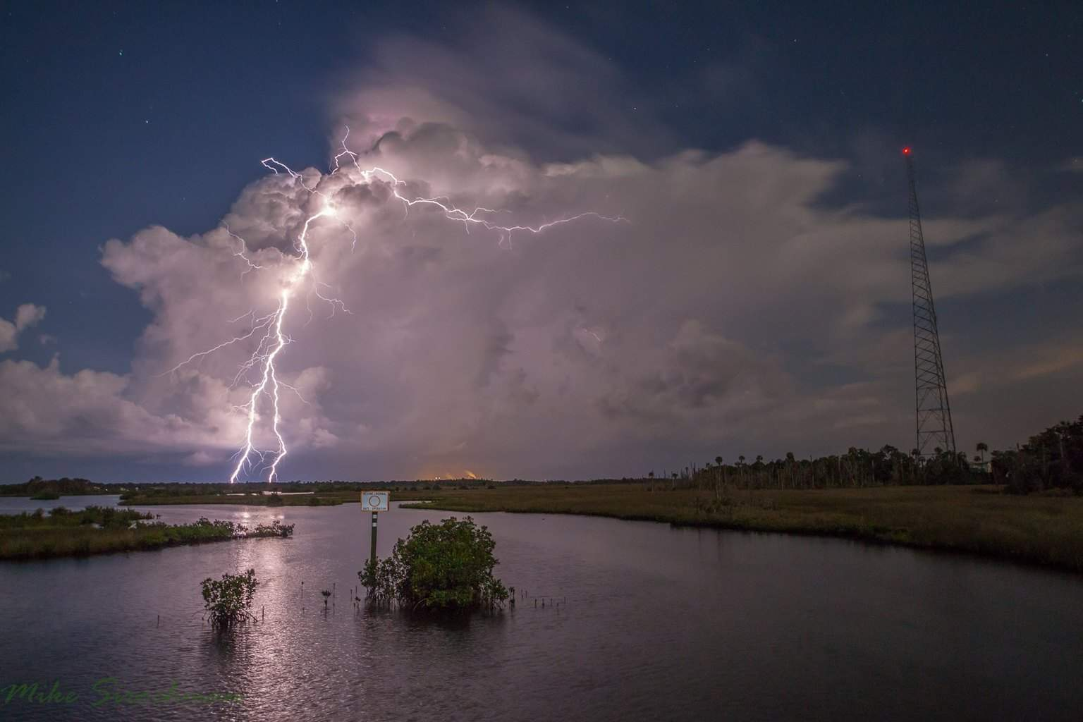 Last night's storm over Crystal River with a full moon behind me. — at Ozello Trail.