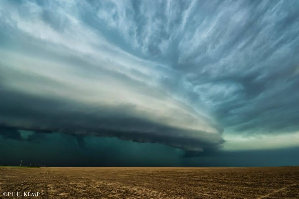 Cool Shelf cloud and mean hail core on this HP supercell near Holly, CO on May 24. This was so cool to watch as it got closer and closer... we got out of there with minutes to spare!