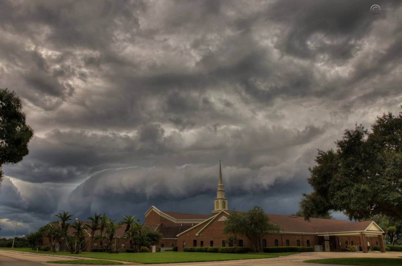 Gnarly storm moving over this church in Wauchula, Fl yesterday