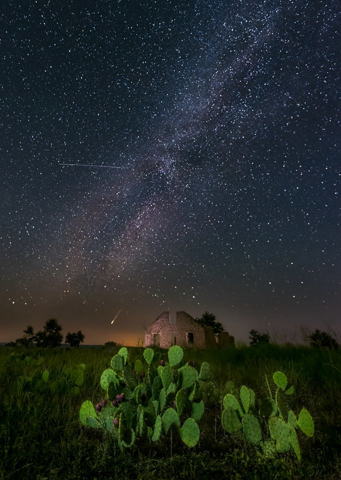 "Taken Sunday morning, one of my favorite photos I've ever taken to date. The milky way, ruins in Fort Griffin near Albany, Texas, a satellite, and a fireball that lit up the entire sky. f/2.8, 30"" sec, ISO 3200"