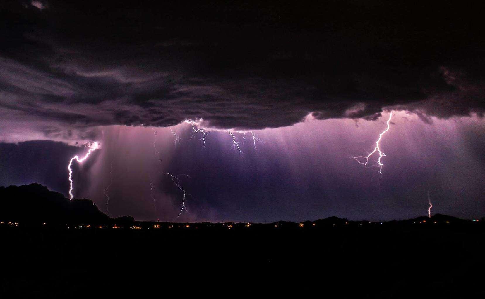 Arizona Monsoon Lightning last night at Superstition Mountains.
