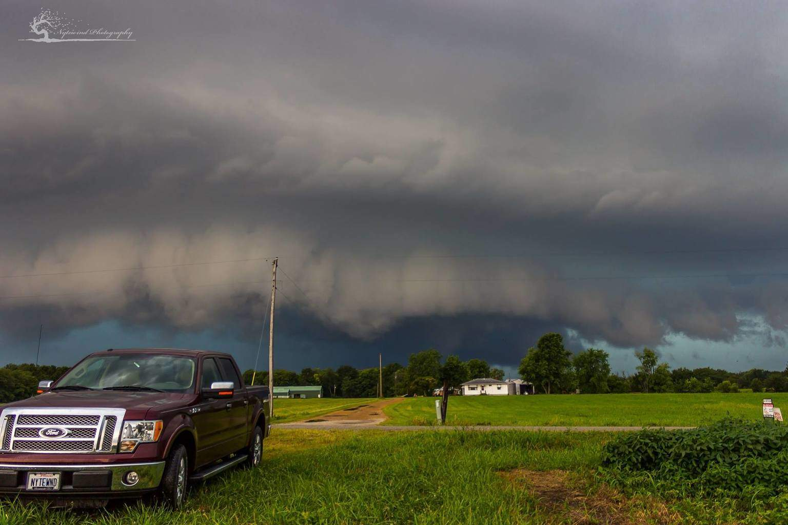 Shelf cloud with possible funnel cloud. West central Illinois August 18th 2015