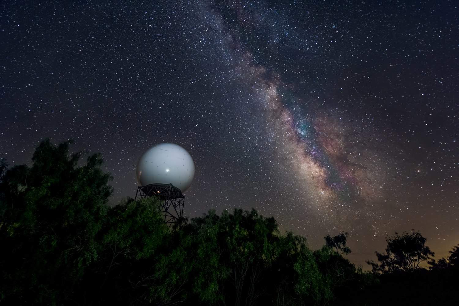 No storms worthy of mentioning in DFW right now - BUT I did manage to snag a picture of the weather doppler outside of Albany, Texas last Saturday night, and the milky way. This one is definitely going on my wall.