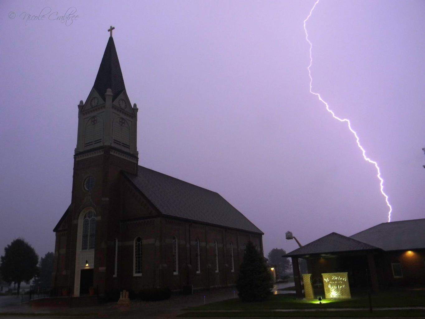 I captured this awesome lightning strike next to St. Peters Church in Jefferson, SD tonight.