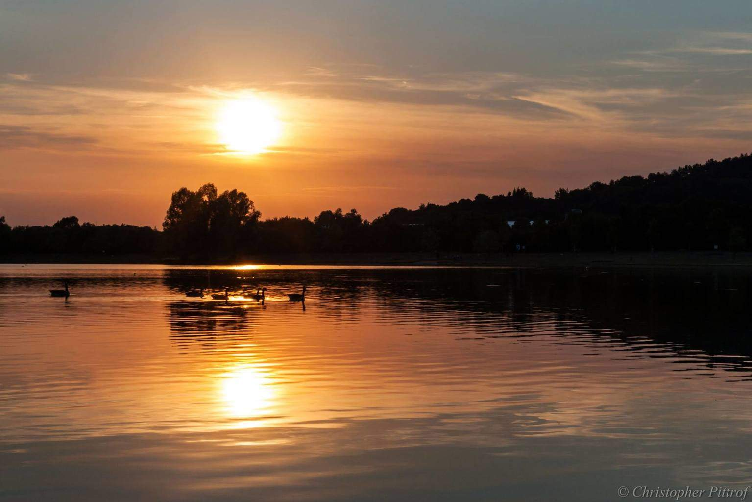 Today's beautiful sunset as seen from our little lake we have around here in Kulmbach (Northern Bavaria, Germany).
