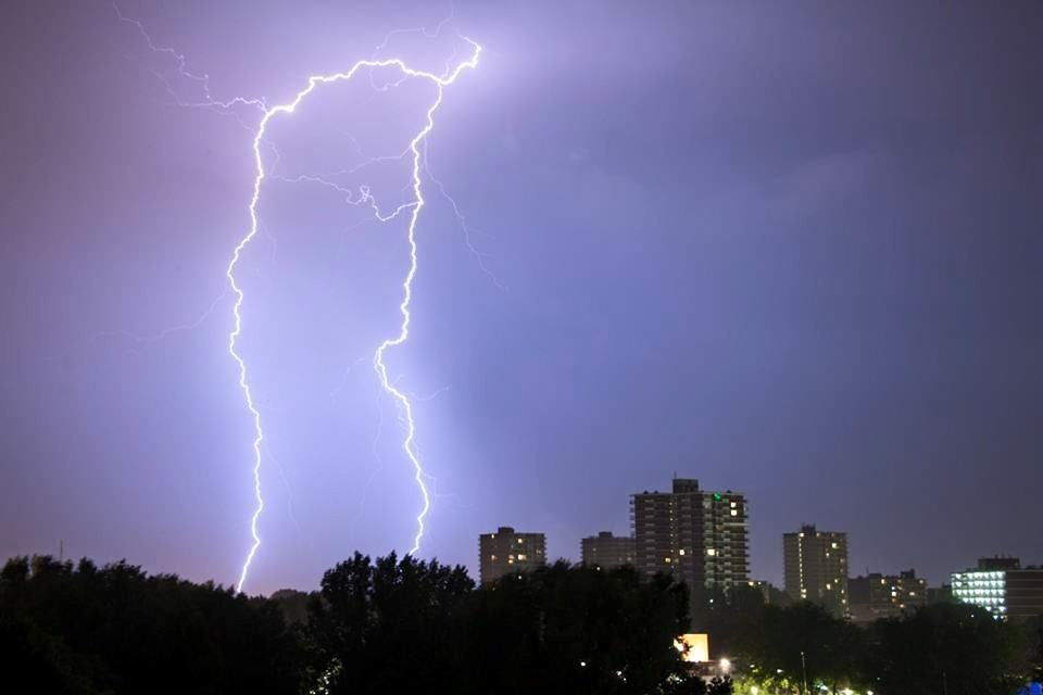 Awesome night! 13/14 aug.  Lightning in the Netherlands in my hometown Zoetermeer.