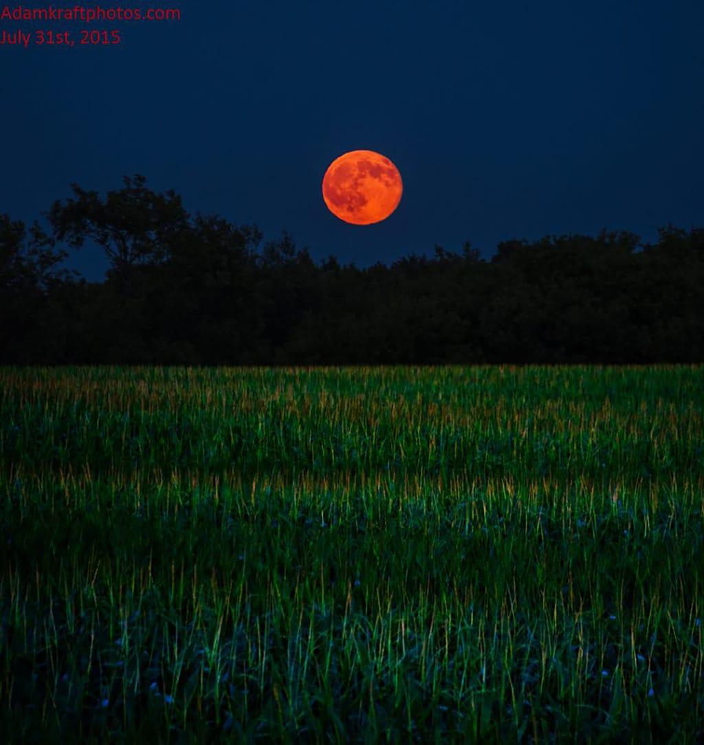 Is it really a blue moon when it rises as a giant peach? Taken in Spring Arbor MI a few hours ago looking across a beautiful wavy corn field.