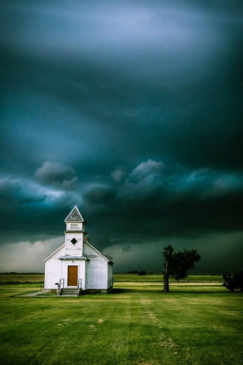 Taken 7/25th in southwestern Kansas. The storm was literally chasing us!!