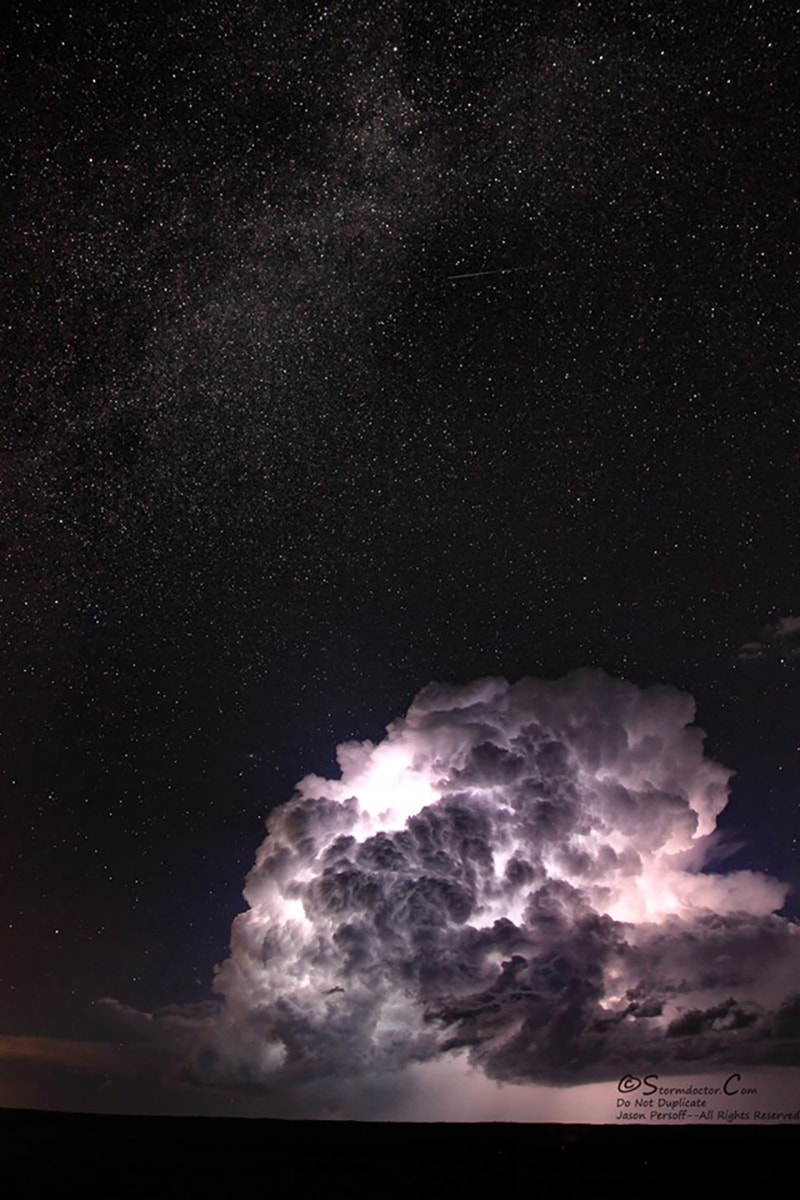 Galactic Storm--The Milky Way, Meteor, and Storm Unexpected combo of astrophotography and lightning storm shot near Walsenberg, CO, on 8/9/2015. The cell pictured became an electrical juggernaut and was an incredible view, especially with the stunning Milky Way in the sky above. Also: a small streak showing either a satellite or an early Perseid meteor...quite the view!