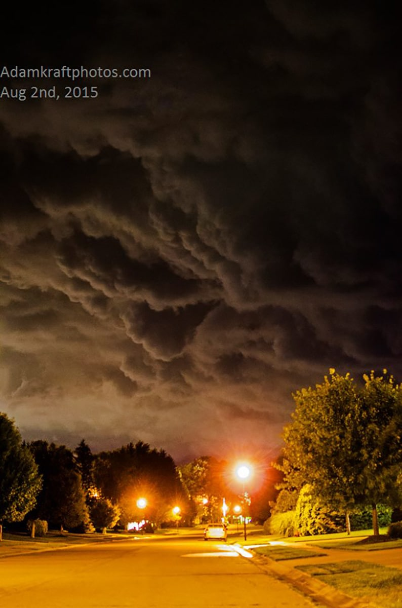 Its frustrating when you know awesome storm clouds are coming but its night time, so you have to work with what you got. Combo of a F/1.8 lens and city lights made this ominous pic possible as outflow raced in ahead of storms Sunday night August 2nd. Taken in Spring Arbor.
