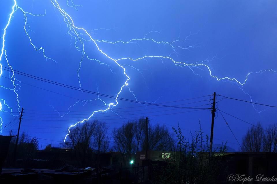 Lightning streaks across the sky in Maseru, Lesotho on the 23 August 2015.