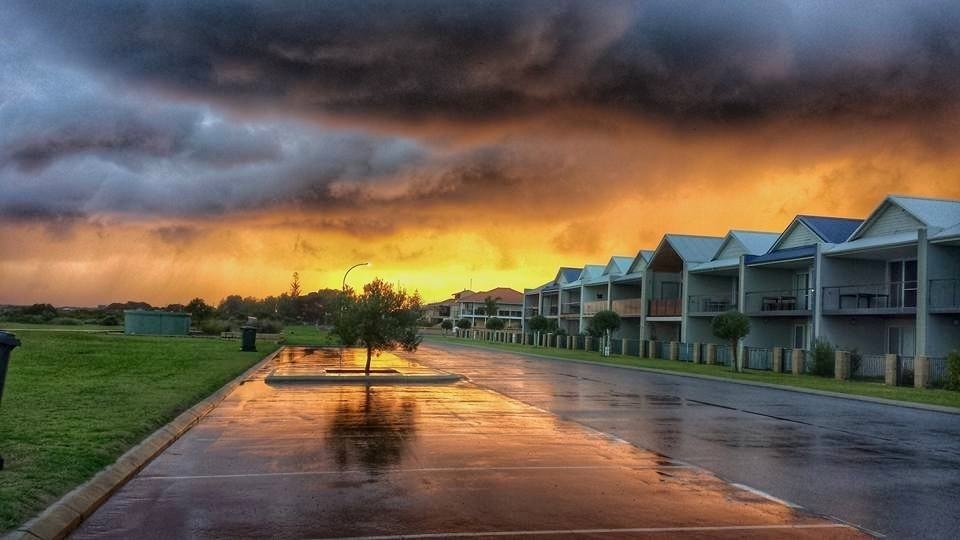 Showery sunrise at jurian bay Western Australia