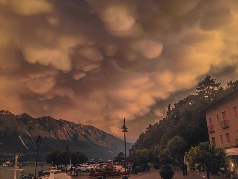 Mammatus clouds tonight At Lake Garda Italy