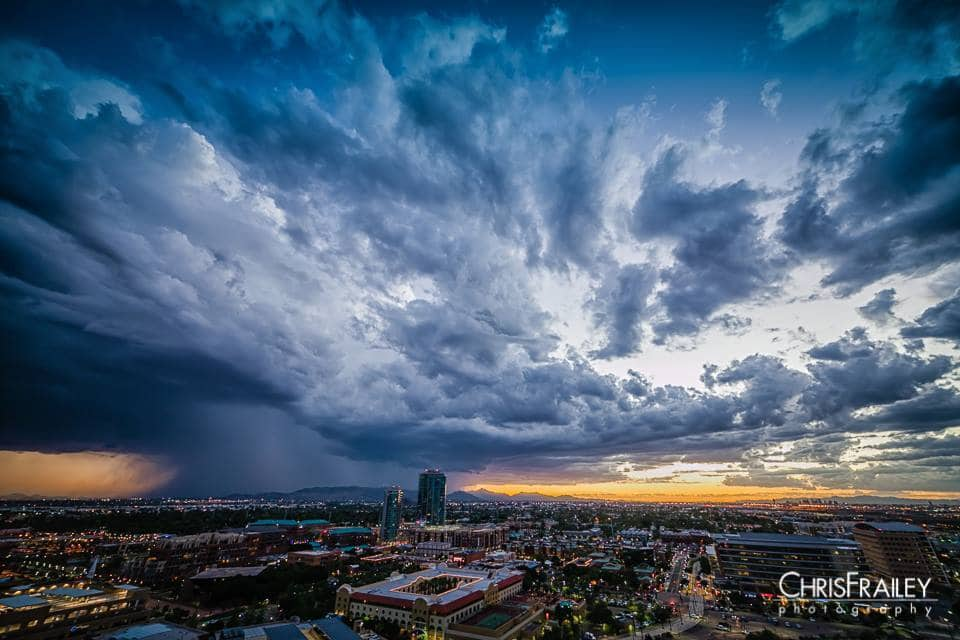 Last night's storm hammered Phoenix with torrential rain and winds gusting up to to 60 mph at Sky Harbor Airport. I climbed A Mountain in Tempe and managed to get a time lapse of the storm rolling in.