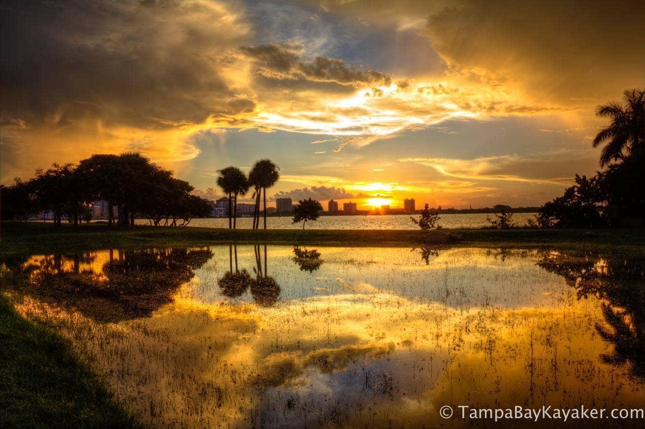 Reflective Sunrise, Crepuscular Rays and a Thunderstorm - Bird Key Sarasota, Florida