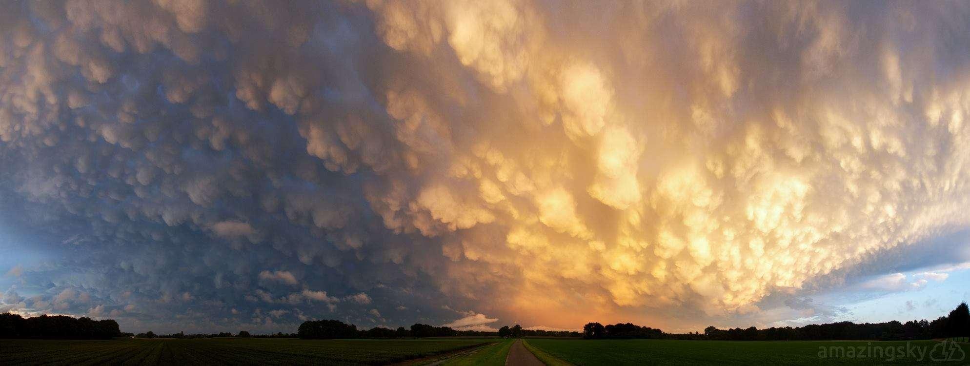 Mammatus clouds at sunset today. Zelhem, The Netherlands.