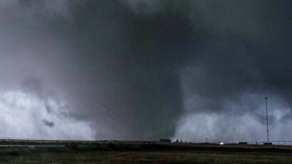 A Large wedge Tornado moving through the open fields in Elmer, Oklahoma!!