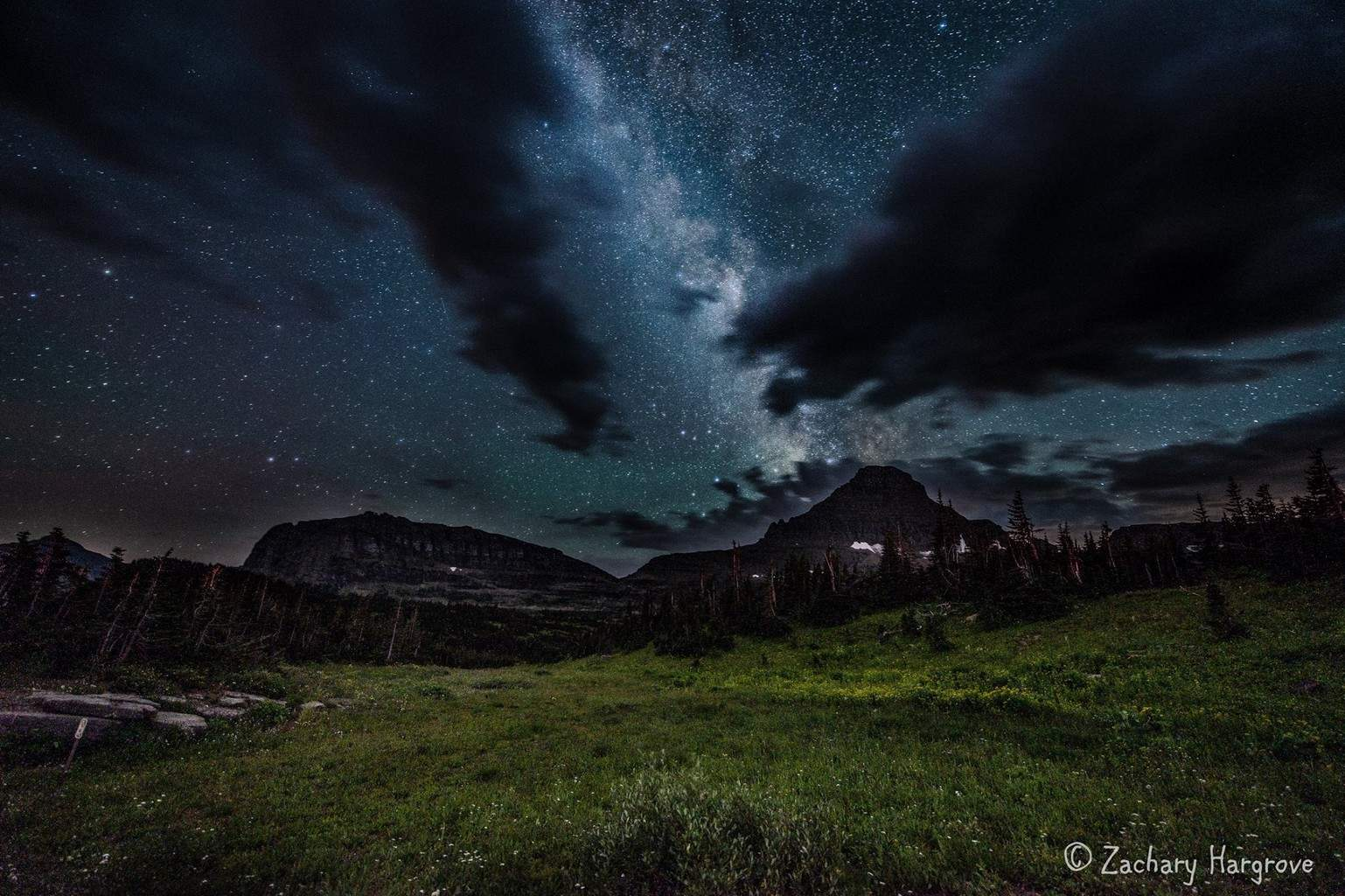 The Milky Way over Logan Pass in Glacier National Park.
