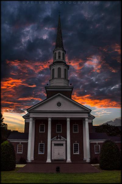 The heavens were ablaze as the sun set behind a local church here in Raleigh, North Carolina. Taken this past Monday on September 7th, 2015 at 7:38 PM.