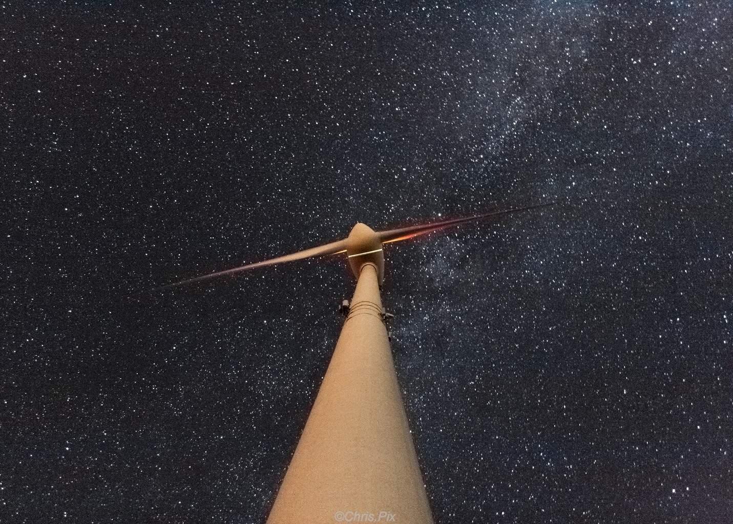 Wind power meets milky way.