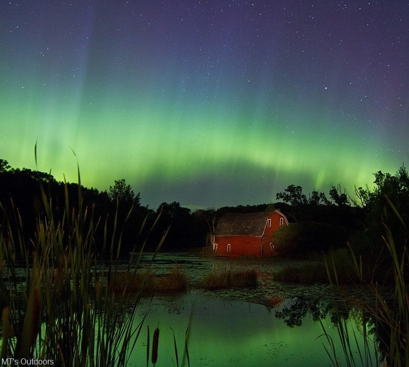 A strong Aurora display hit just after midnight, September 9th. Here is one I took from Zimmerman MN at the peak of the first sub storm.