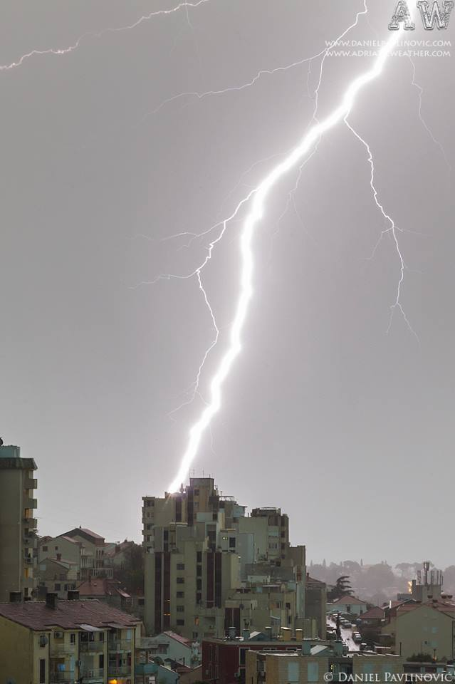 Close lightning strikes the building in front of me, Dubrovnik (Croatia).