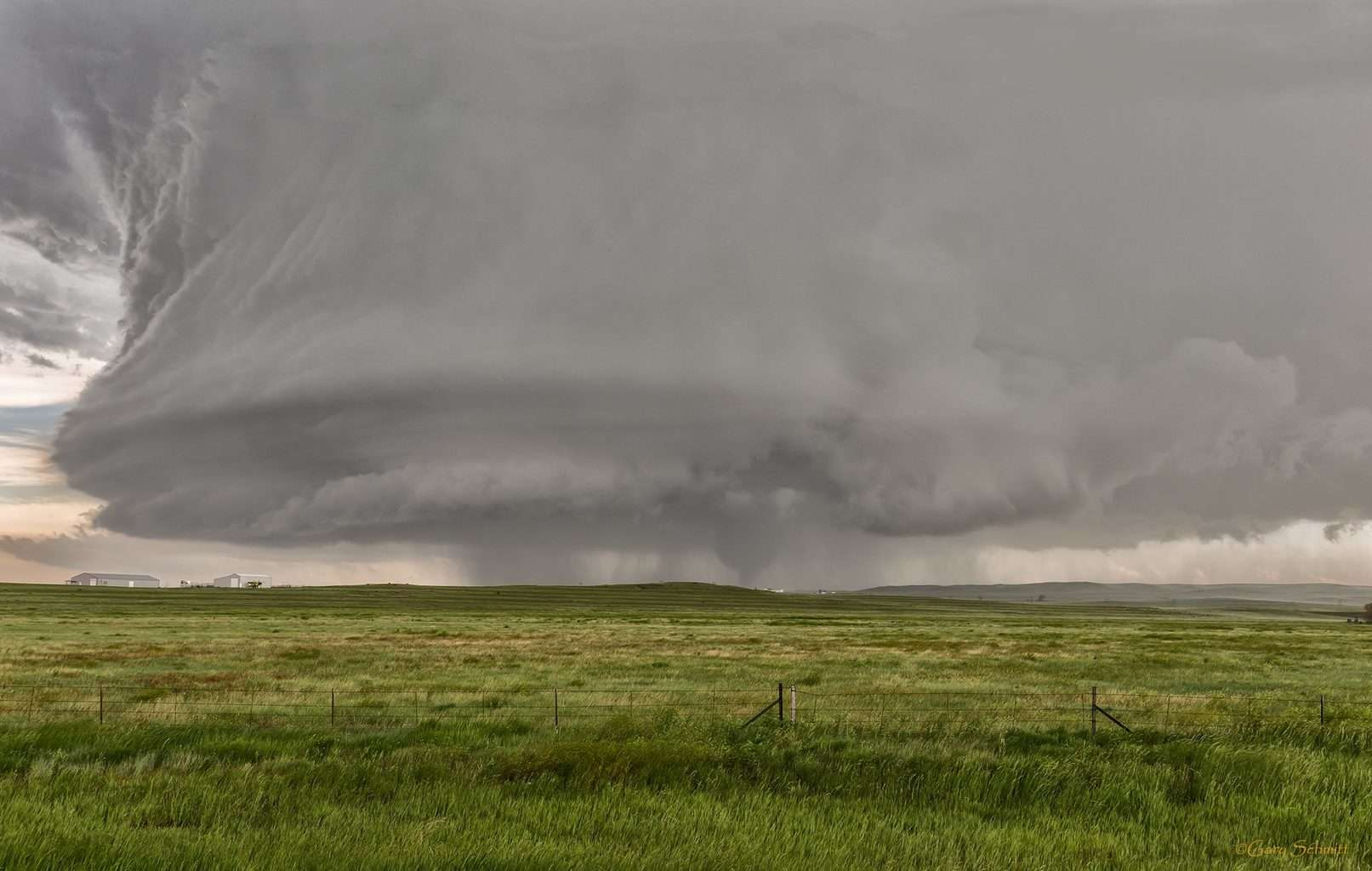 Here is a shot of the Simla storm with the cone on the before the sister tornado dropped .