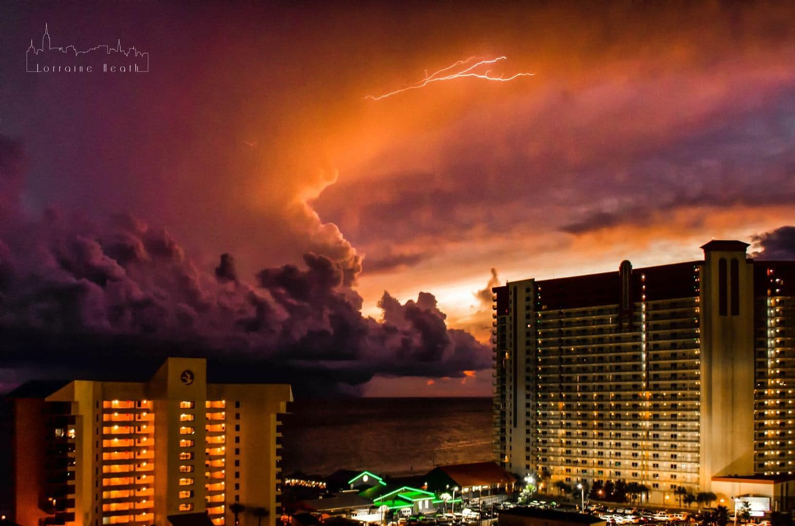Lightning and a sunset