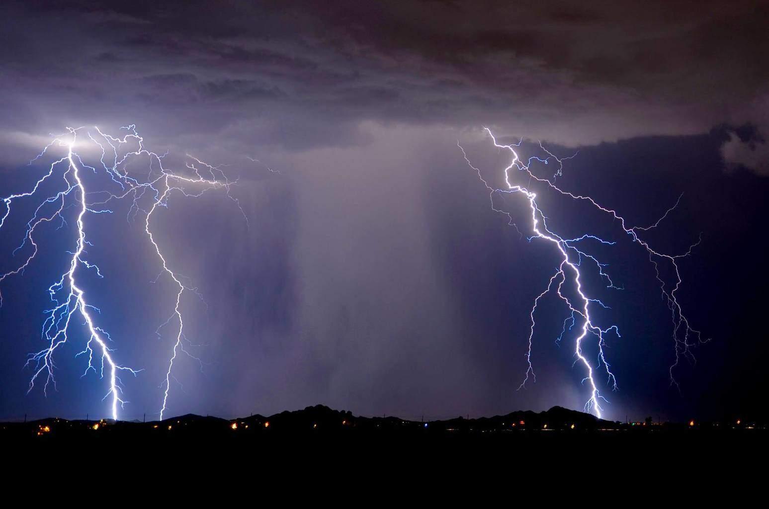 Triple lightning strike. Apache Junction AZ.