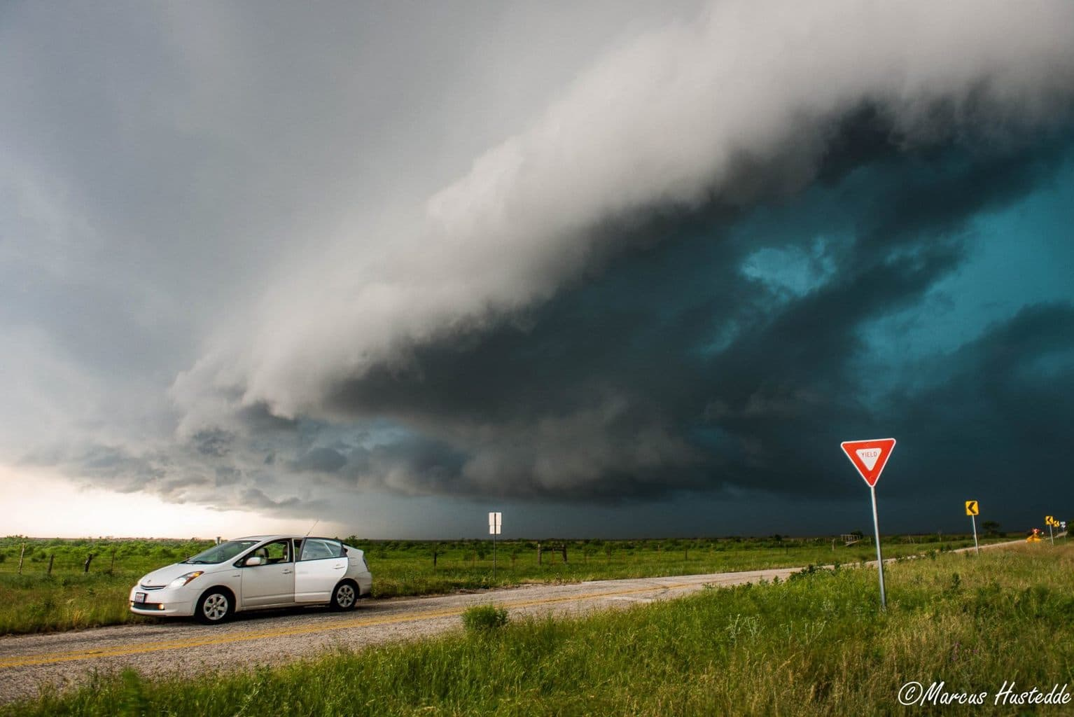 I rarely take storm photos with my car in the foreground but here is one of those rare occurrences on 5-8-15 in central Texas....Yes I chase in a Prius!