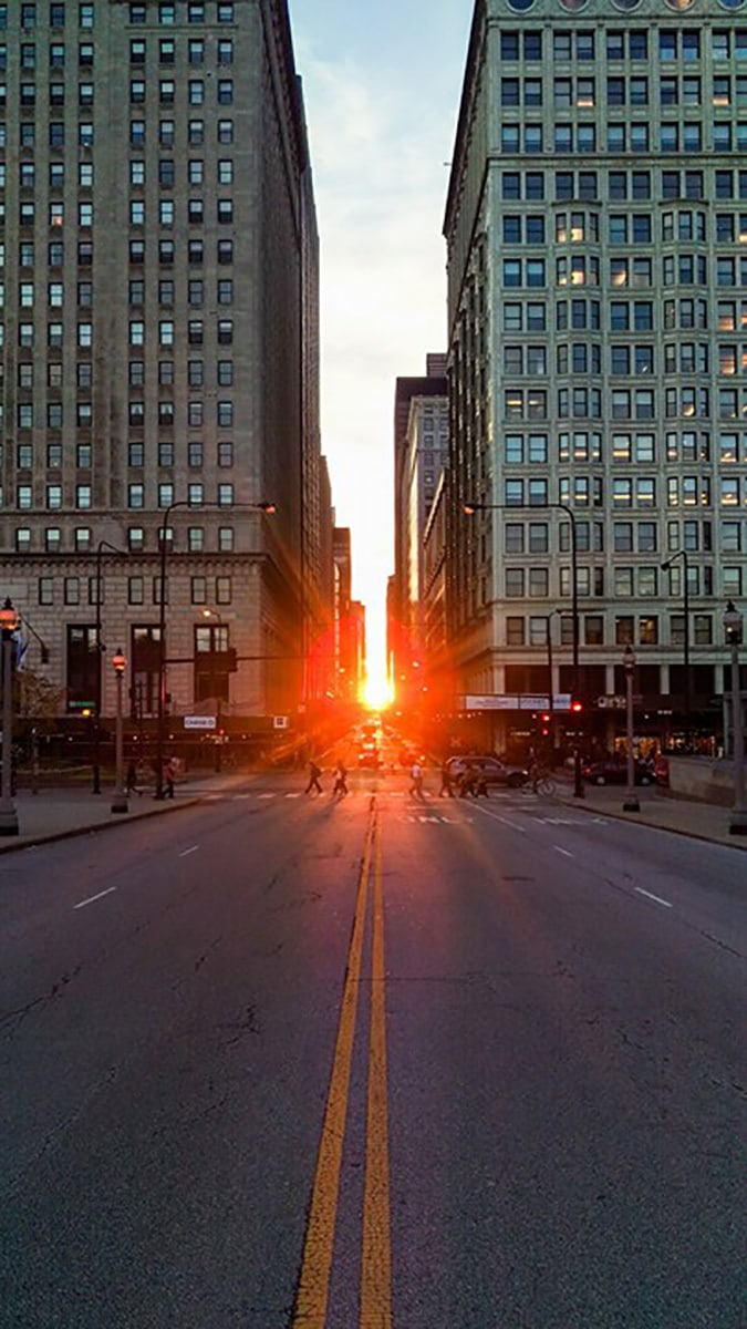 A twice yearly (equinox) phenomenon known as Chicagohenge, when the sun sets in alignment with the east-west streets of Chicago.