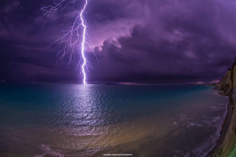 Last night massive storm in corfu island greece!