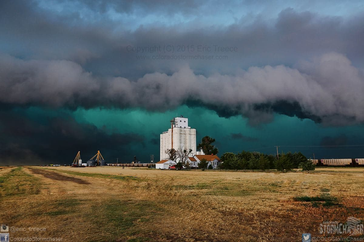 Wicked storm approaching the grain elevators in the tiny town of Horace, KS on July 19, 2015. Didn't stick around to see just how big the hail was in this beast!!