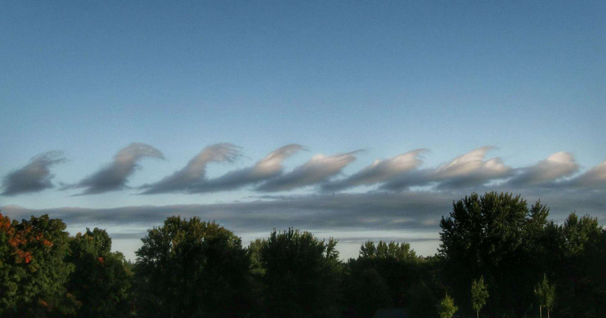 Wave clouds over Eau Claire, WI yesterday morning