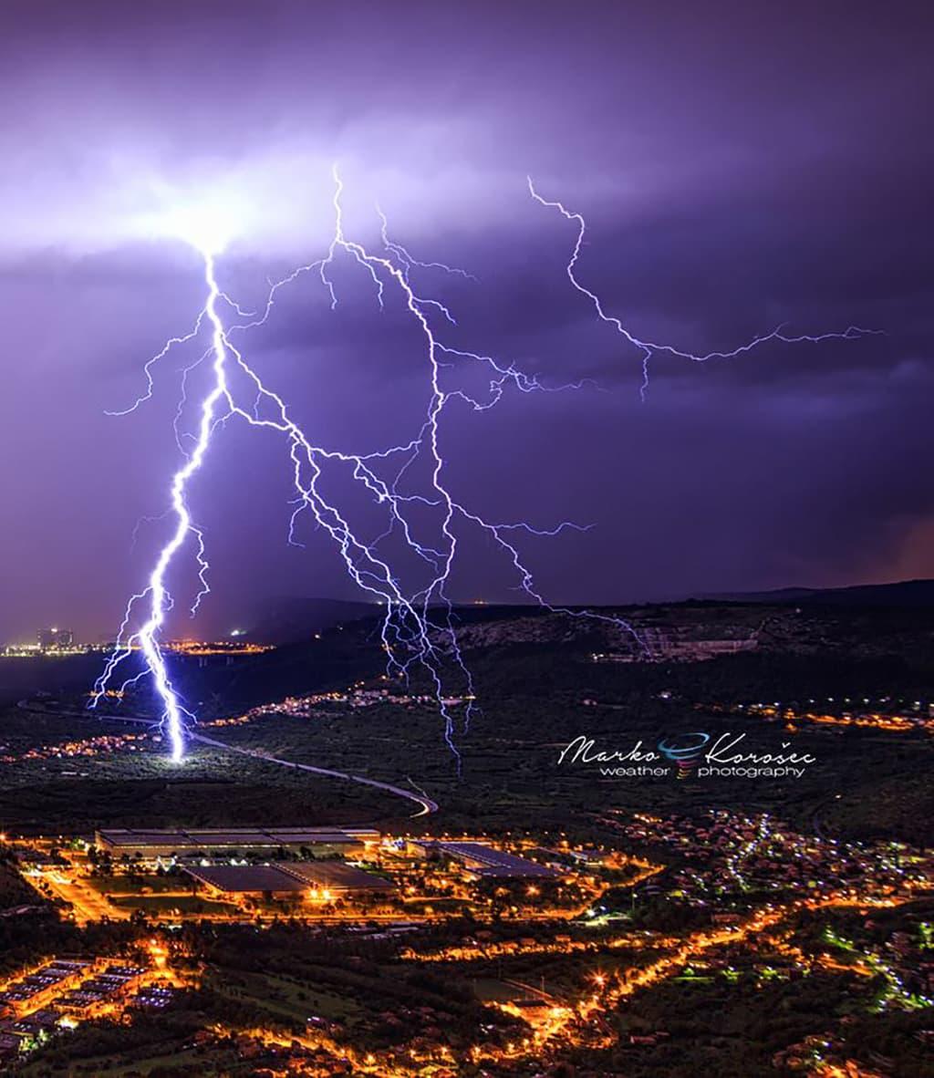 Lightning strikes Trieste, Italy suburbs. Taken 2 nights ago, Sept 4th.
