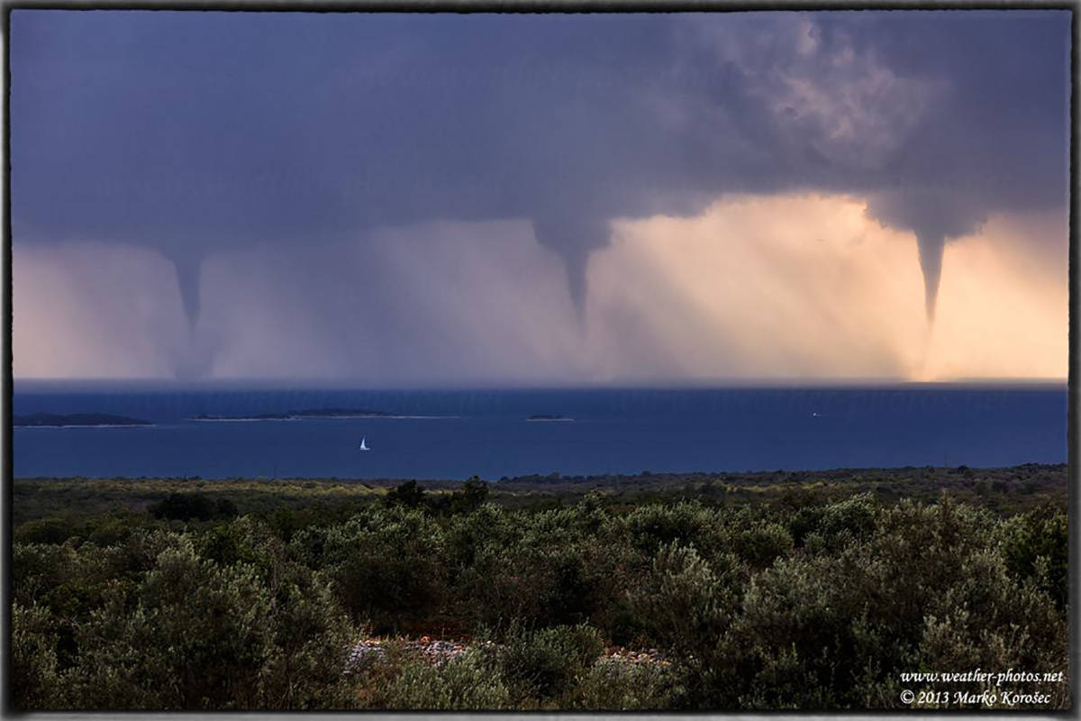 A family of three strong waterspouts near Pula, Croatia on June 24th, 2013.