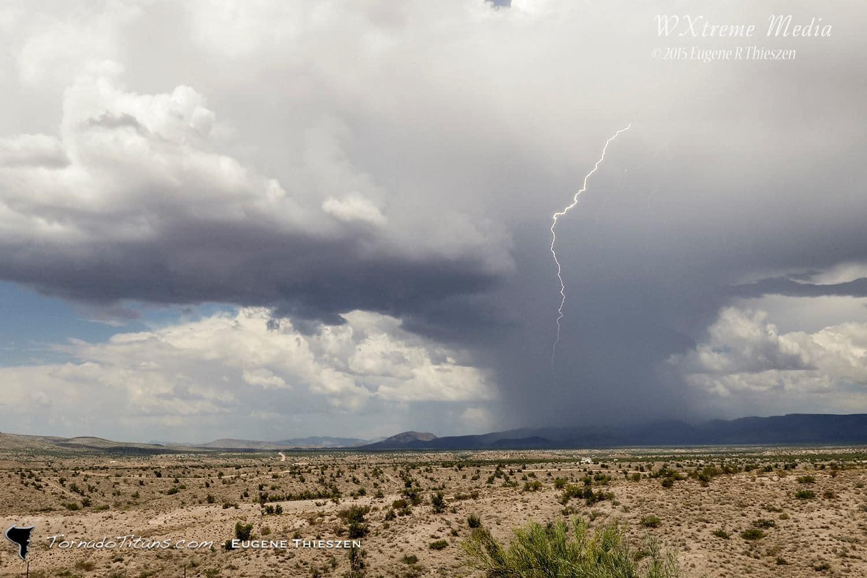 Hot Shot. Cloud to ground lightning in a small, heavy desert monsoon thunderstorm east of Kingman, AZ. 09/11/15 4K video capture