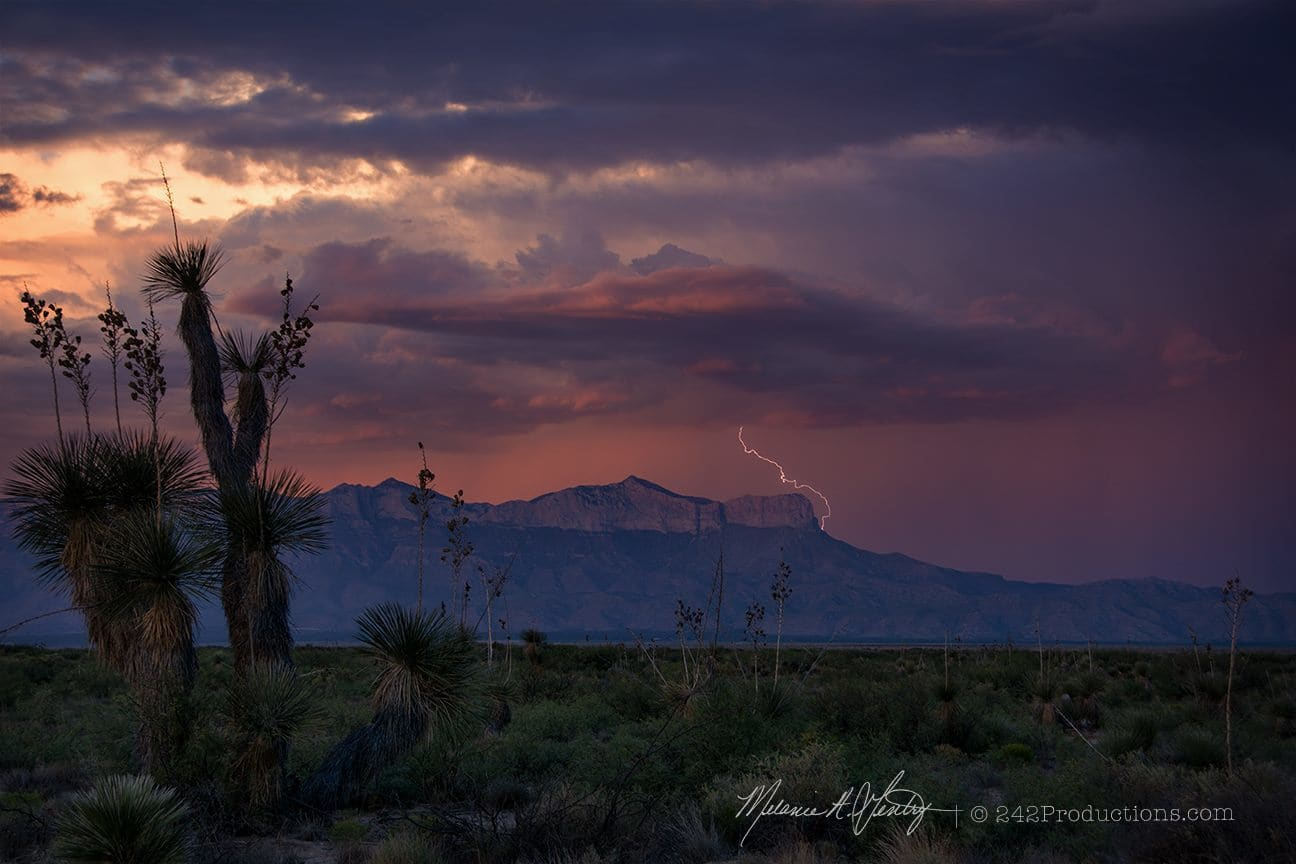 Guadalupe Mountains of west Texas this evening. Cheers, friends! UPDATE: I was so excited about this shot when I posted that I didn't give more information, I was late getting to the spot and the light was fading fast so I shot handheld and was not in burst mode. ISO 100, f/ 5.6, 1/80, 44mm. I will probably never capture another strike ever with those settings. It was purely a matter the right place and perfect timing coming together!