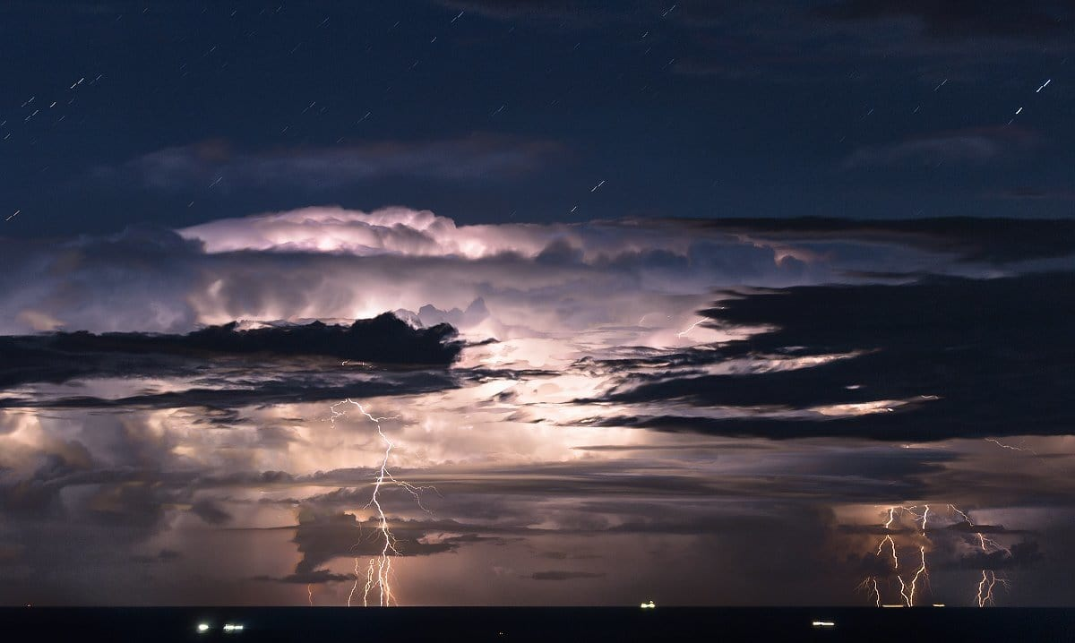The big storm over the North Adriatic sea, Italy. 19th August, 2015