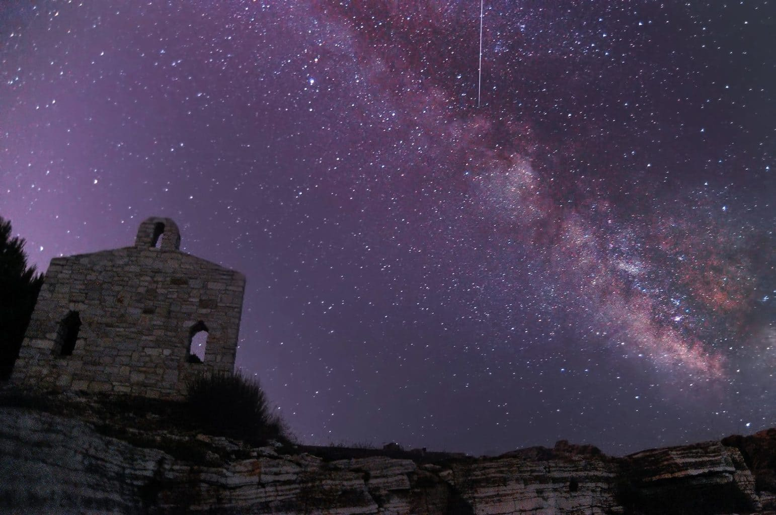Milky way and perseid over Verudela, Pula, Croatia.
